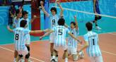 Los chicos argentinos celebran su histrica victoria (Foto: Web Federacin de Vley Argentina).