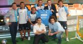 Parte del plantel de Belgrano visit Ftbol para Todos. (Foto: Gentileza Lisardo Novillo)